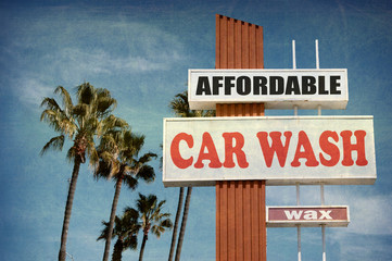 aged and worn vintage photo of car wash sign
