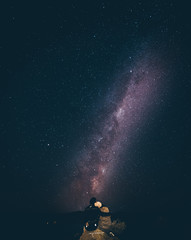 People under beautiful milky way in New Zealand
