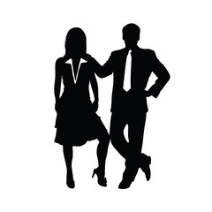 couple silhouette business in black color illustration