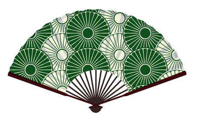 Ancient Traditional Japanese fan with Japanese Flower Pattern