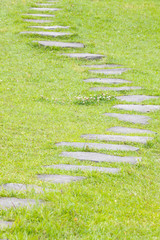 Japanese stone path and green grass in the garden