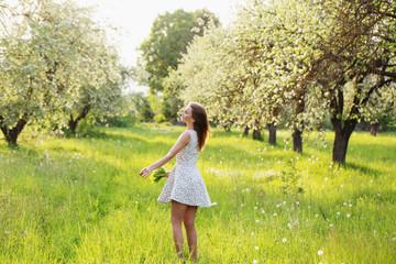 beautiful girl in orchard