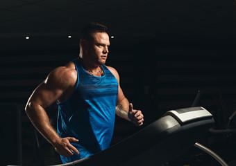 Male athlete on treadmill