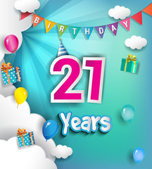 21 years Birthday Celebration Design, with clouds and balloons. using Paper Art Design Style.