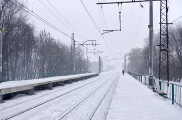 Photo of the railway station in the suburbs or the countryside. The railroad runs between dense rows of trees. Snow-covered platform during snowfall with strong wind