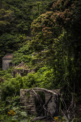 Abandoned temple and village houses