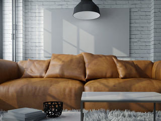 cinematic Modern living room with white wall ,brown leather couch, fur carpet and loft concept interior design.jpg