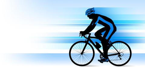 ロードバイクに乗る男性_ブルー