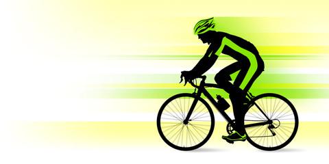 ロードバイクに乗る男性_グリーン