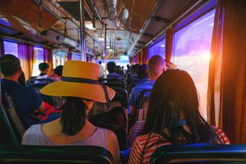 life inside a bus in Bangkok, Thailand.