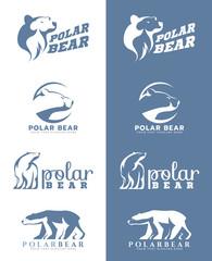 White and soft blue Polar bear logo vector art design