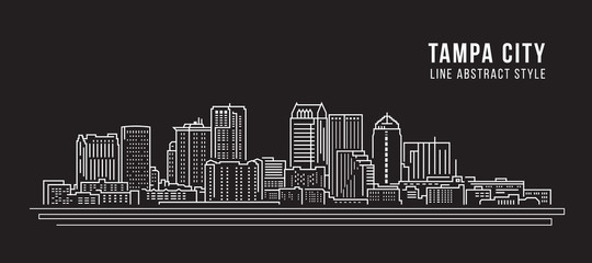 Cityscape Building Line art Vector Illustration design -  Tampa city