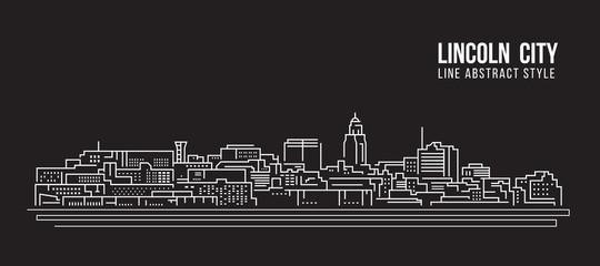 Cityscape Building Line art Vector Illustration design - Lincoln city Wall mural