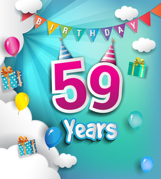 59 years Birthday Celebration Design, with clouds and balloons. using Paper Art Design Style.