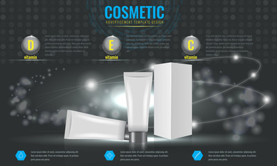 Cosmetic ads template, blank cosmetic mockup with sparkling effect. Product information and translucent liquid ball. Vector 3D illustration