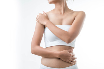 Woman with pain in shoulder. Pain in the human body,health care concept.