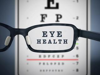 Eye test chart and eyeglasses. 3D illustration