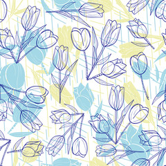 Tulips pattern. Trendy Floral hand-drawn seamless pattern. Spring flowers.