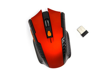 red wireless gaming mouse isolated on white background
