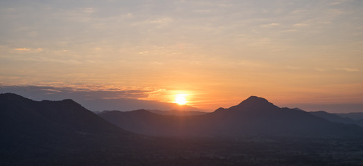 Beautiful Landscape of Sunrise at Phu Thok, Chiang Khan District, Loei Province, Thailand