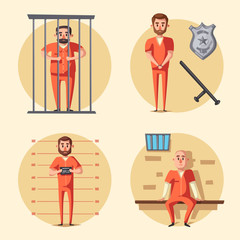 Prison. Criminal in uniform. Cartoon vector illustration