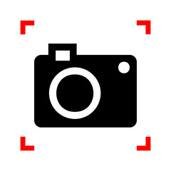 Digital camera sign. Black icon in focus corners on white backgr