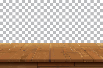 Empty wooden table top isolated background.Old vintage shelf textures.Used for display or montage your products