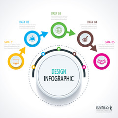 Business timeline infographics with 5 circles steps number options. Can be used for workflow layout, diagram, data, banner, web design.