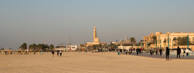 Jumeirah beach with the Mosque in the background