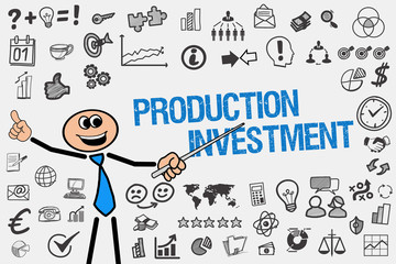 Production Investment / Mann mit Symbole