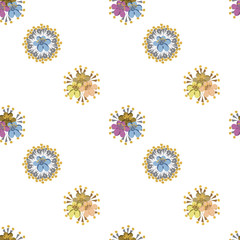 Hand-drawn seamless flower pattern. Diagonal stripes of simple abstract flowers. Floral vintage background for textile, cover, wallpaper, gift packaging, printing, scrapbooking.