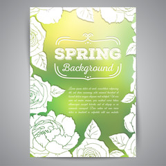 Spring card with roses and blurred background