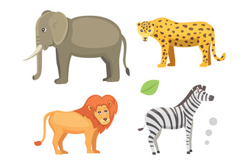 African animals cartoon vector set. elephant, rhino, giraffe, cheetah, zebra, hyena, lion, hippo, crocodile, gorila and outhers. safari isolated illustratio.