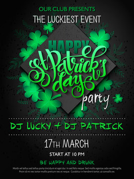 Vector st Patricks day party poster with lettering, clover leaf, doodle branches and rhombus