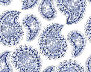 Vintage paisley seamless pattern. Ethnic ornament. Stylized decorative tribal painting. Traditional handcraft. Outline seamless texture. Coloring book page. Vector illustration.