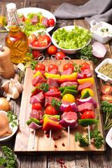 raw beef,skewer and ingredient