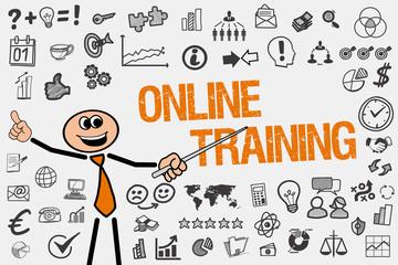 Online Training / Mann mit Symbole