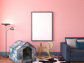 Mock up scene, 3d render, room for pets, interior