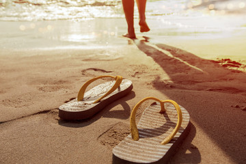 Walk into the sea in summer