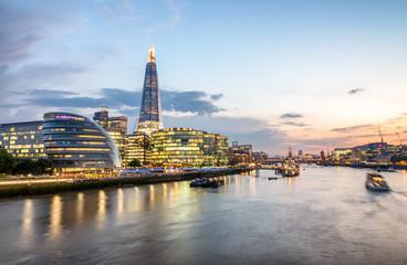 London skyline, buildings south of Thames aftre sunset