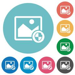 Protect image flat round icons