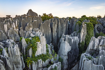 Beautiful sunset in Stone Forest in Shilin, Kunming, Yunnan province, China