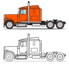 Old semi truck with sleeper towing engine transport. american tractor, side view. Vector doodle illustration