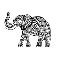 Vector of Elephant in zentangle style.Hand drawn  Black and White illustration