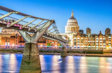 Millennium Bridge after sunset, London