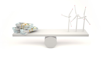 Energy saving concept.Wind turbines and money on a balance scale.
