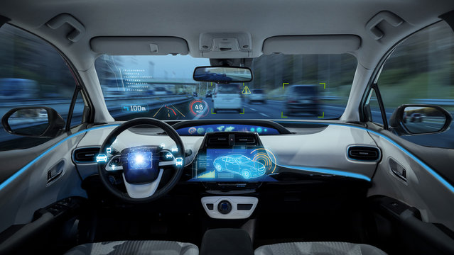 empty cockpit of vehicle, HUD(Head Up Display) and digital speedometer, autonomous car, diriverless vehicle