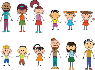 Children adulds isolated  look up with interest. Kid pointing at a wight  Funny cartoon character. Vector illustration