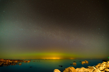 Aurora Boralis showing its beauty over the Baltic sea