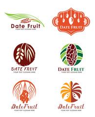 Date Palm Fruit logo vector set design